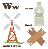 Alphabet W letter.Water,Wind Turbine,Wood Royalty Free Stock Image