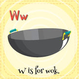 Alphabet W is for wok. Illustration Royalty Free Stock Photography