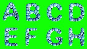 Alphabet from water bubble isolated on a green background. vector illustration