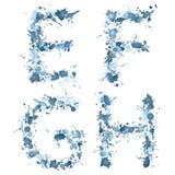 Alphabet water drop EFGH Royalty Free Stock Photos