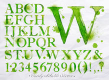 Alphabet watercolor green. Alphabet set drawn watercolor blots and stains with a spray green color. Easily editable. Vector Royalty Free Stock Images