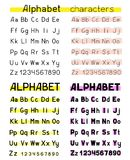Alphabet white background. Four copies of the alphabet. Font characters simple vector on a white background. Abc letters and numbers different colors. Printed stock illustration