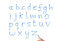 The alphabet on a whiteboard. Royalty Free Stock Images