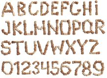 Alphabet of wine corks Royalty Free Stock Image