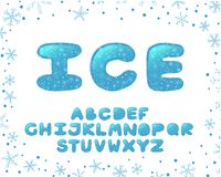 Alphabet winter design. Typeface clip art, ice style. English letters. Font typography. Hand drawn. EPS 10. Alphabet winter Christmas design. Typeface clip art royalty free illustration
