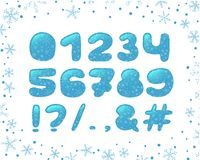 Alphabet winter design. Typeface clip art, ice style. Numbers and punctuation marks. Font typography. Hand drawn. EPS 10. Alphabet winter Christmas design vector illustration