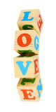 Alphabet wood blocks forming the word love Royalty Free Stock Photography