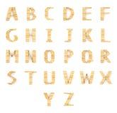 Alphabet wood dominos type blocks on white Stock Image