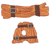 Alphabet of wood and leather. Letter A. The illustration shows the letter of the alphabet symbolizing handmade and crafts Stock Photo