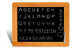 Alphabet on wooden black board frame Stock Photos