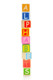 Alphabet. Wooden block of alphabets on white background Royalty Free Stock Images