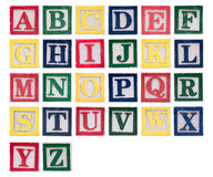 Alphabet of wooden block letters Royalty Free Stock Images
