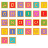 Alphabet wooden english blocks Royalty Free Stock Image