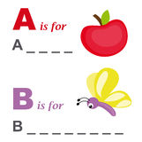 Alphabet word game: apple and butterfly stock photo