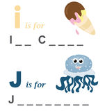 Alphabet word game: ice cream and jellyfish. A funny way for children to learn the alphabet: In this game the child has to write down the correct words. The Stock Images