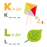 Alphabet word game: kite and leaf. A funny way for children to learn the alphabet: In this game the child has to write down the correct words. The solutions are Stock Photo