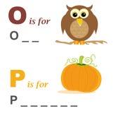 Alphabet word game: owl and pumpkin stock image