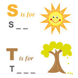 Alphabet word game: sun and tree stock illustration
