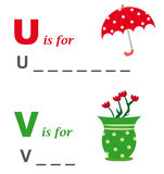 Alphabet word game: umbrella and vase. A funny way for children to learn the alphabet: In this game the child has to write down the correct words. The solutions Royalty Free Stock Image