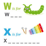 Alphabet word game: worm and xylophone. A funny way for children to learn the alphabet: In this game the child has to write down the correct words. The solutions Stock Images