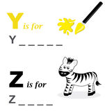 Alphabet word game: yellow and zebra. A funny way for children to learn the alphabet: In this game the child has to write down the correct words. The solutions Stock Photo