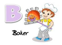 Alphabet workers - baker. Digital illustration of the alphabet of the works. Baker Stock Photos