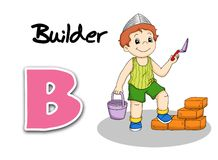 Alphabet workers - builder Stock Photo