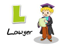 Alphabet workers - lawyer. Digital illustration of the alphabet of the works. Lawyer Royalty Free Stock Photo