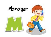 Alphabet workers - manager. Digital illustration of the alphabet of the works. Manager Stock Photo
