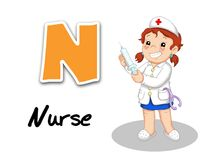 Alphabet workers - nurse Stock Photos