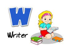 Alphabet workers - writer Stock Photos