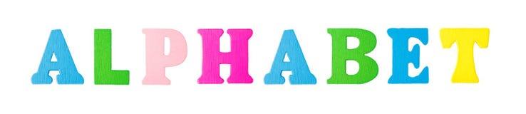 Alphabet-Wort mit hölzernen Buchstaben Stockbild