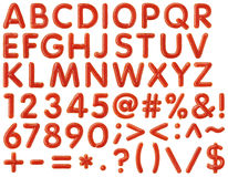 Alphabet written by ketchup on white background Royalty Free Stock Photo