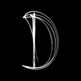 Alphabet written with lamp. Letter D. The letter D - written with light at night Vector Illustration