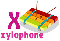 Alphabet X avec le xylophone Photo stock