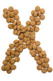 Alphabet X de noix de gingembre Photo stock