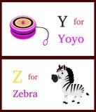 Alphabet Y und Z Stockbild