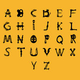Alphabet on yellow. Beautiful art creative colorful halloween holiday wallpaper vector illustration of cover with english alphabet letters of black human bones Stock Images