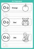 Alphabet A-zübung mit Karikaturvokabular für Malbuch Stockbild