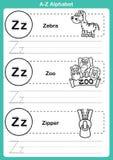 Alphabet A-zübung mit Karikaturvokabular für Malbuch Stockbilder