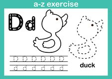 Alphabet a-z exercise with cartoon vocabulary for coloring book. Illustration, vector stock illustration