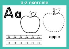 Alphabet a-z exercise with cartoon vocabulary for coloring book. Illustration, vector vector illustration