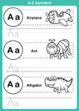 Alphabet a-z exercise with cartoon vocabulary for coloring book. Illustration, vector Royalty Free Stock Photos