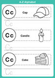 Alphabet a-z exercise with cartoon vocabulary for coloring book. Illustration, vector Stock Photos