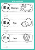 Alphabet a-z exercise with cartoon vocabulary for coloring book Royalty Free Stock Image