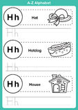 Alphabet a-z exercise with cartoon vocabulary for coloring book Stock Photography