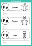 Alphabet a-z exercise with cartoon vocabulary for coloring book Royalty Free Stock Photography