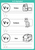 Alphabet a-z exercise with cartoon vocabulary for coloring book. Illustration, vector Stock Photo
