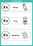 Alphabet a-z exercise with cartoon vocabulary for coloring book. Illustration, vector Stock Photography