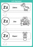 Alphabet a-z exercise with cartoon vocabulary for coloring book Stock Images